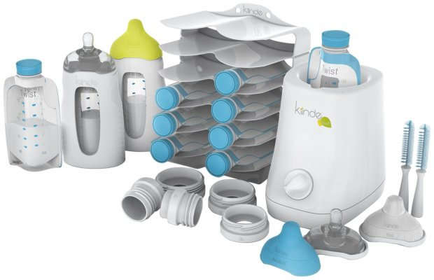 "TOP BEST BABY ITEMS TO HAVE NEW MOM PREGNANT NURSERY MOTHER SEW MANY WAYS KIMI MATERNITY BABY SHOWER GIFT PRESENT TOYS ESSENTIALS Feed directly from Kiinde Twist PouchesTM, completely eliminating the need to transfer milk from bottles to bags and back again! After thawing and warming, just snap the pouch directly into the SqueezeTM natural feeding bottle, squeeze the air out of the pouch, and pop the Active LatchTM nipple on top! Active Latch nipples are designed to teach and reward deep, wide, natural latching. By requiring suction AND massaging of the nipple tip, they are designed to discourage """"lazy latching"""", and to ease the transition between bottle and breast. Using Kiinde's Direct-Pump adapters, nipples from a wide variety of brands can be used to feed gas-free directly from Twist Pouches, eliminating the need to transfer to a bottle and create more dirty dishes. Included reusable nipple cases double as bottle covers. Bottle is recyclable, and BPA, PVC, and pthalate-free. For a complete transfer-free, hassle-free breastmilk collection, storage, preparation, and feeding system: DIRECT-PUMP into Kiinde Twist Pouches, recyclable breastmilk storage pouches with twist-locking caps. Using Kiinde Direct-Pump twist-locking adapters, Twist Pouches twist-lock onto pumps from all major brands, for leak-free, transfer-free pumping. STORE and organize pouches in the Kiinde KeeperTM breastmilk holder and organizer, and THAW and WARM quickly and safely using the Kiinde KoziiTM breastmilk warmer and bottle warmer with steam-free SAFEheatTM technology."
