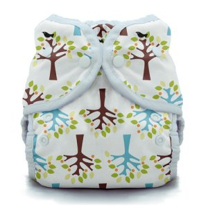 "Cloth diapering made even easier!  bumGenius Freetime All-In-One One-Size Cloth Diapers feature our patent pending butterfly closure system to provide a comfortable, trim fit. This simple design makes cloth diapering as easy as using disposables. Our ""no-stuff"" system with semi-attached, stay dry inserts is an ideal solution for families with a child in day-care or family members resistant to cloth diapers! Using the snaps on the front of the diaper, adjust the size if needed, put the diaper on your baby, wash, dry and re-use. No extra steps. No stuffing. No cover required. Our one-size diapers are designed to fit most babies weighing between 8 and 35 pounds.  The soft, waterproof outer fabric keeps the diaper trim on your newborn and toddler. Soft, sueded inner fabric gently wicks moisture away from your baby's skin. Super stretchy, gentle leg and back elastic with rolled out casings keeps the yuck in and help to keep red marks away. BGFreetime_Martin_S sew many ways kimi cloth diapering keami terrill 101 beginner disposable diaper hybrid fitted ospcozy snappi wool diaper cover pul thirties wrap snap"
