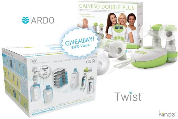 kiinde giveaway twist ardo calypso double plus breast pump bottles 50% off free $300 value